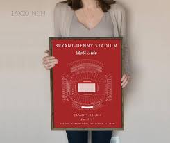 Bryant Denny Stadium Seating Chart Alabama Crimson Tide Alabama Crimson Tide Sign Alabama Crimson Tide Print Gift For Alabama Fan Vintage