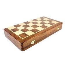 brown wooden folding chess board box