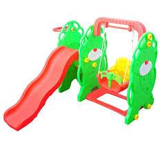 homcom kids garden playground w swing slide and basketball hoop red green