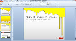 Ppt Templates Microsoft 2010 Free Yellow Ink Powerpoint Template Free Powerpoint Templates