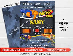 Nerf Birthday Invitation Nerf Dart Party Invitation Instant Download Editable Pdf Printable File Dart Invite Nerf Invitation Dart Dart Nerf