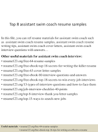 Assistant Coach Resume Samples Top 8 Assistant Swim Coach Resume Samples