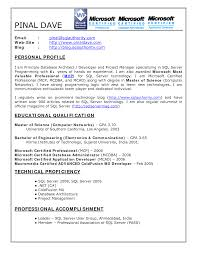 Inspiration Ms Sql Fresher Resume Sample In Bsc Resume Format