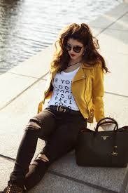 laura lily fashion travel and lifestyle blog zara faux suede biker jacket yellow