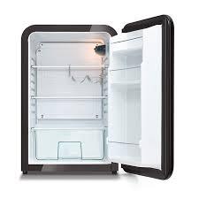 husky retro bar fridge in black open