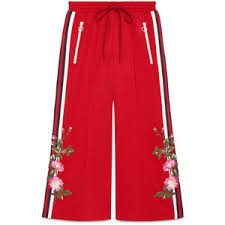 gucci pants. gucci embroidered wide-leg jogging pant pants