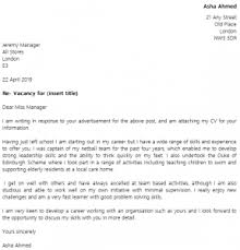 Awesome Collection Of Cover Letter For School Leaver On Cover Letter
