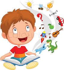 vector ilration of little boy cartoon reading book education stock vector colourbox