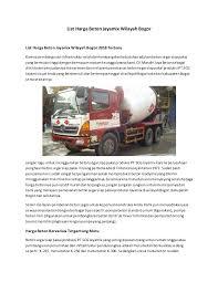 825.000 /m³, satu meter kubik pada mutu k 275 sebesar 850.000, k 300 bogor rp. List Harga Beton Jayamix Wilayah Bogor