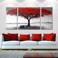 framed red tree oil painting on canvas black white abstract modern wall art rw