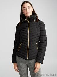 women b young quilted tunnel collar jacket in black 000jtb