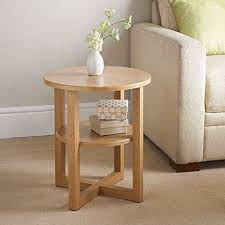 small wooden side table oak round coffee end tables lamp stand book shelves unit