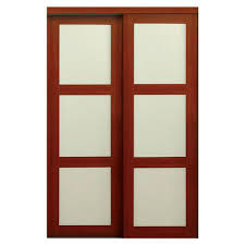 TRUporte 60 in. x 80 in. 2310 Series Cherry 3-Lite Tempered Frosted ...