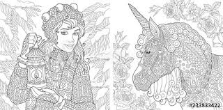 Coloring Pages With Winter Girl And Unicorn Buy This Stock Vector
