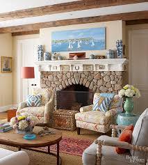 cobblestone fireplace frame