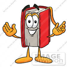 22388 clip art graphic of a book cartoon character with weling open arms by toons4biz