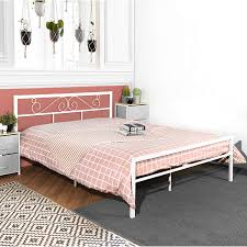 GreenForest Full Bed Frame with Wooden Slats Support Metal Platform with Modern Headboard Mattress Foundation No Box Spring Needed for Kids, White