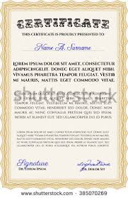 certificate diploma template sample text stock vector  diploma template excellent design complex background vector illustration orange color