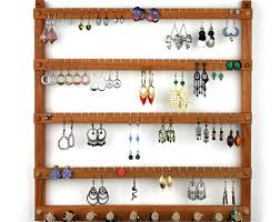 Jewelry Wall Organizer Wood Earring Holder Jewelry Organizer Cherry Wall Mount Earring