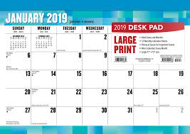 easy calendars large print 2019 17 x 12 inch monthly desk pad calendar