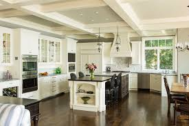 White Kitchen Wooden Floor Cool Kitchen Design Ideas With Wood Floor And White Marble