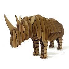 3d puzzle rhino toys model paper craft kids s diy cardboard animal decoration rhinoceros decor children