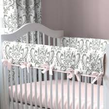 pink and gray elephants baby crib bedding