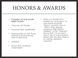willie b adkins scholars student portfolio ppt video online  14 honors awards examples of such awards might include national ap scholar national merit semifinalist national history day essay