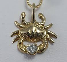 bailey crab pendant 14kyg with diamond custom