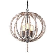 eumyviv 17101 3 lights spherical metal frame wood beads chandelier retro rustic industrial pendant light edison vintage decorative hanging light fixtures