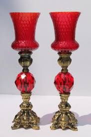 vintage candlesticks w italian glass shades ornate gold candle holders w ruby red lucite gems