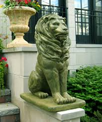 outdoor garden statues. Amazon.com : Pack Of 2 Regal Sitting Lion Cast Stone Concrete Moss Finish Outdoor Garden Statues \u0026
