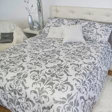damask silver black white blue king queen quilt
