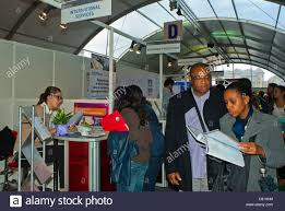 Paris France French People At Jobs Fair Job Hunters Looking At