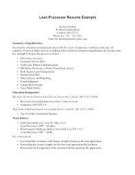 Loan Processor Sample Resume Podarki Co