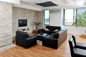 the brick living room furniture. Small Living Room With Light Brick Wall, Mounted Flat Screen TV, Black Furniture The