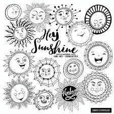 Sunshine Doodle Gezicht Clipart Zomerzon Art Journal Etsy