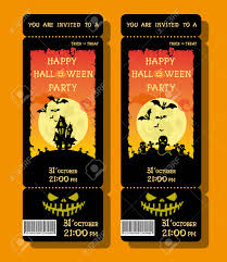 Set Of Halloween Ticket Or Flyer On Holiday Party With Pumpkin