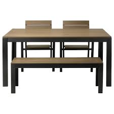 table 2 chairs and bench. falster table, 2 chairs and bench, outdoor, black, brown table bench c