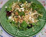 blue cheese with arugula  caramelized onions and nuts