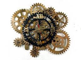 32 rotating gears wall clock