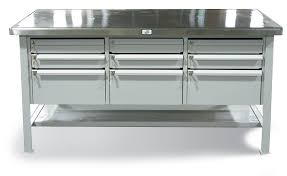 Stainless Steel Table Top Strong Hold Products Industrial Shop Table With 2 Drawers And