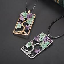 details about tree of life wire wrap gemstones amethyst quartz garnet agate chip beads pendant