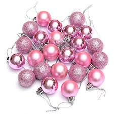 Ornament Ball - TOOGOO(R)24Pcs Chic Christmas Baubles Tree Plain Glitter  XMAS Ornament Ball Decoration Pink