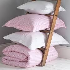 pink gingham duvet set with white pillowsham