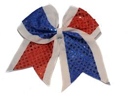 Cheer Bow Designs White With Blue Red Sequin Cheer Bow