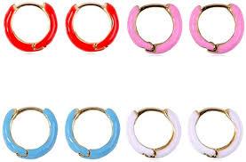4 Pairs Colorful Enamel Copper Hoop Earrings ... - Amazon.com