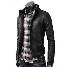 strap mens slim black leather biker jacket