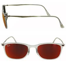 Details About Ray Ban Sunglasses New Wayfarer Light Ray 4225 646 6q Transparent Red Mirror