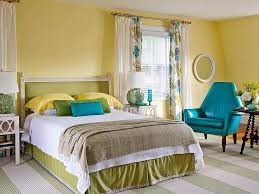 Yellow, blue and green bedroom.